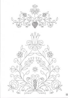 Embroidery Pattern from wzory hafty kaszubskie. Hungarian Embroidery, Hand Embroidery Patterns, Applique Patterns, Beaded Embroidery, Cross Stitch Embroidery, Machine Embroidery, Bordados E Cia, Motif Floral, Embroidery Techniques