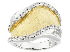 Bella Luce (R) .68ctw Diamond Simulant Eterno (Tm) Yellow & Rhodium Over Sterling Ring (.34ctw Dew)