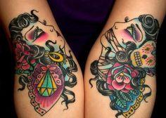 portrait tattoo on hand gem flower skull