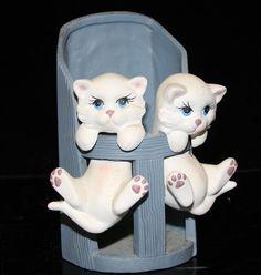 Cat Vases   Vintage Kitten vase CAT FIGURINE Porcelain Germany ?