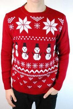 Men's Red snowman fair isle Christmas jumper