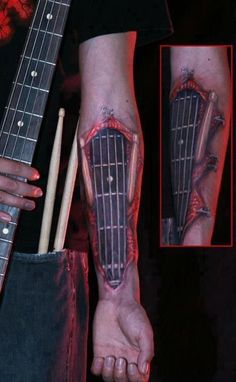 Guitar tattoo, guitar neck, strings, frets, forearm, rock and roll, metal, punk, music, hardcore, band, sick www.rockthefout.com