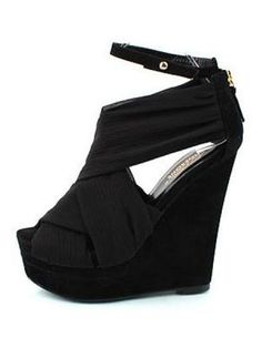 Ultra-high Slope Of European Style Thick Soles Heel Satin Platform Shoes  www.choies.com