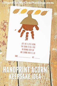 Handprint Acorn Keepsake Idea w/free printable template