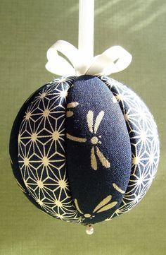 Navy Dragonflys Kimekomi Christmas Ornament by OrnamentDesigns, $10.00