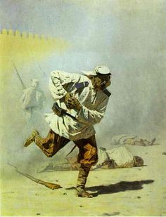 Mortally Wounded, 1873 by Vasily Vereshchagin. Realism. battle painting. Tretyakov Gallery, Moscow, Russia