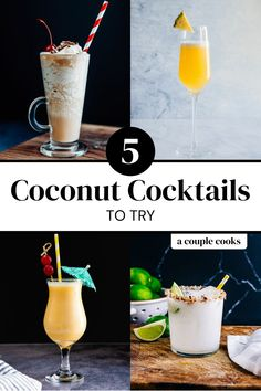 Here are the best coconut cocktails with creamy, tropical flavor! Pair coconut with rum, tequila or vodka for deliciously refreshing drinks. | alcoholic drinks | drinks | cocktails | coconut cocktails | coconut margarita | piña colada recipe alcohol | bushwacker recipe | painkiller cocktail | coconut mimosa | #coconutcocktails #coconutdrinks #coconutcream #creamofcoconut Coconut Margarita, Coconut Drinks, Margarita Recipes, Champagne Drinks, Cocktail Drinks, Alcoholic Drinks, Beverages, Cocktails To Try, Refreshing Cocktails
