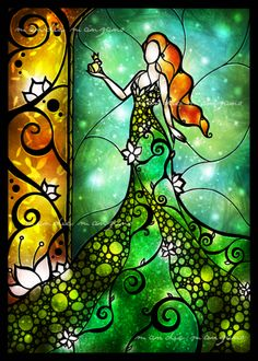 """The Frog Princess"" by mandiemichel.devi... Disney Stained Glass, Stained Glass Art, Arte Disney, Disney Art, Frog Princess, Bunt, Fairy Tales, Fine Art Prints, Illustrations"