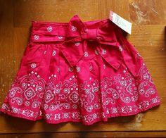 NWT Oshkosh B'gosh girls 5 red western skirt with bow attached shorts #OshKoshBgosh #DressyEverydayHoliday