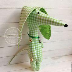 Купить Такса в клеточку - такса, собачка, собака, собака игрушка, текстильная игрушка