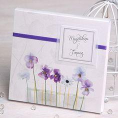 Eleganckie zaproszenie ślubne w pudełku - bratki