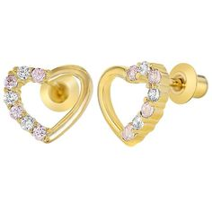 Clous d'oreilles à vis pour enfants en forme de cœur plaqué or 18 K avec cristaux zircone Transparents/rose