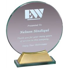 Our Round Glass Award With Gold Metal Base features a thick engraving area mounted on a gold metal base. is x and is x Both include free personalized engraving. Glass Awards, Glass Plaques, Glass Picture Frames, Thing 1, Diamond Shapes, Laser Engraving, Round Glass, Base, Crystals