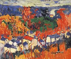 'Houses at Chatou with Red Trees', Oil by Maurice De Vlaminck (1876-1958, France)