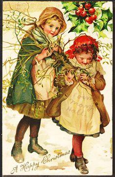 Young Girls Gather Mistletoe Ernst Nister Chromo in Style of Harriett Bennett | eBay