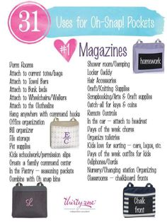 31 uses for the oh snap pockets https://www.mythirtyone.com/hsatkins