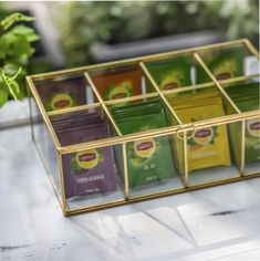 NCYP Glass Terrarium Box Tea Coffee Bag Storage Organizer image 4 Terrarium Containers, Glass Terrarium, Terrarium Ideas, Terrariums, Tea Organization, Jewelry Organization, Frame Display, Display Case, Tea Bag Storage