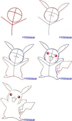 40 Step By Step Charts -How To Draw Doodles: 40 Step By Step Charts - Little Pikachu Pokemon Coloring Pages More Another very popular face going up right now is on the mascot for PDD Kawaii Drawings, Doodle Drawings, Disney Drawings, Cartoon Drawings, Easy Drawings, Manga Drawing, Drawing Sketches, Drawing Step, Doodles