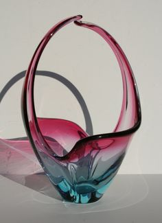 Vintage Modernist Murano Italian Art Glass Sommerso Cranberry and Blue Cased Glass Basket on Etsy, $99.99