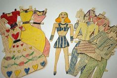 Handmade Paper Doll & Clothes Paper Puppets, Guys And Dolls, Dollhouses, Paper Dolls, Fashion Art, Folk Art, Doll Clothes, Disney Characters, Fictional Characters