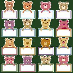 Cute bears badges Free Vector