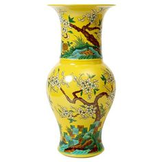 Oka Global Yellow Cherry Blossom Tall Wide Mouth Porcelain Vase | Kathy Kuo Home