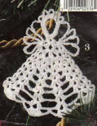 Free Crochet Angel Christmas Ornament Pattern. I made them using metallic gold crochet thread. Pretty.