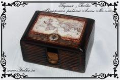 шкатулка, визитница, старая карта, путешествие, box, business card holder, puteshest,decoupage, old map, the map