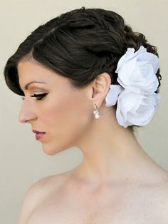 Classic White Rose Bridal Hair Flower ~ Jessie - Hair Comes the Bride Bridal Hair Accessories & Headpieces, Wedding Jewelry, Hair & Makeup