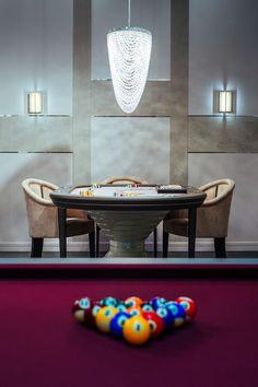 Vismara Design VIP Game Room equipped with Poker Table and Pool Table. #gameroom #luxuryentertainmentfurniture #luxuryfurniture #madeinitaly