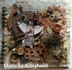 My first Mixed media book made in Inspired by Finnabair Steampunk Book, Mixed Media Painting, Inspired, Cover, How To Make, Inspiration, Biblical Inspiration, Slipcovers, Blankets