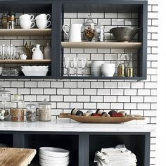 Lots of pretty kitchenware? Opt for open shelving to display your favourite items in your kitchen