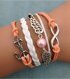 angel wing anchor infinite leather bracelet