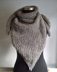 big #beige #handknitted #kerchief  for cold winter days ^^ KrisztiKecskes - fall/winter 2014
