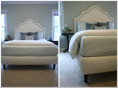 Upholstered platform bed...I love this. It seems so dreamy - like something out of a fairytale.