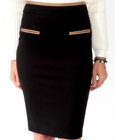 Contrast Trimmed Pencil Skirt | FOREVER21 - 2021841137