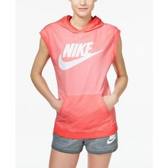Nike Solstice Sleeveless Pullover Hoodie ($60) ❤ liked on Polyvore featuring tops, hoodies, light crimson, red hoodies, oversized hoodie, pullover hoodies, sleeveless hoodies and sleeveless hoodie