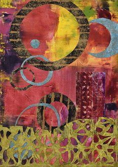 Mixed Media Contemporary Abstract Painting ALTITUDE ADJUSTMENT by Santa Fe Contemporary Artist Sandra Duran Wilson Original art painting by Sandra Duran Wilson - DailyPainters.com