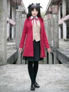 Game Anime Fate Stay Night Fate/Zero Tohsaka Rin Cosplay Costume Cosplay Dress Free shipping