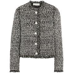 Balenciaga Fringed tweed jacket (11 160 SEK) ❤ liked on Polyvore featuring outerwear, jackets, black, black jacket, balenciaga, tweed jacket, black tweed jacket and balenciaga jacket
