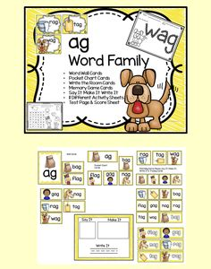Word Families are an excellent way to introduce reading to children.   This set of ag Word Family Activities is packed full of fun and will engage your students all week long. There are enough extra practice pages included in this set you can use them for homework, early finishers or as morning work.