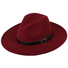 Dantiya Women'/s Wide Brim Wool Fedora Panama Hat with Belt Wine Red,... ($17) ❤ liked on Polyvore featuring accessories, hats, red hat, cowboy hat, wide brim cowboy hats, wide brim hats and western hats