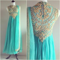 pretty dress & color of turquoise. could probably wear again
