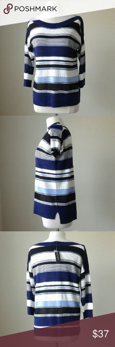 Boxy stitched blue striped pullover top -Boxy fit -3/4 sleeves -Side slits -78% Viscose, 11% Acrylic, 11% Cotton  Measurements in inches Small: bust 41.5, length 26.75 Medium: bust 45, length 27 Large: bust 47, length 27.5 XLarge: bust 50, length 28.25 White House Black Market Tops Blouses