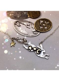 by the Hairy Growler Handcrafted and recycled sterling silver magical leaping hare necklace