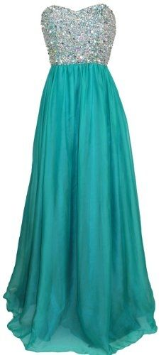 Strapless Beaded Formal Chiffon A-Line Gown in Jade Blue