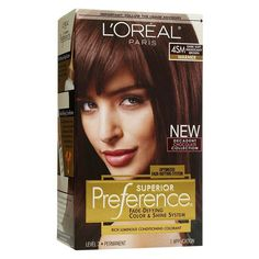 L'Oréal Paris Superior Preference Fade-Defying Color + Shine System - 4SM Dark Soft Mahogany Brown - 1 Kit Loreal Hair Color Brown, Deep Red Hair Color, Brown Hair Color Shades, At Home Hair Color, Brown Hair Colors, Zooey Deschanel, Loreal Preference Hair Color, Pelo Color Morado, Mahogany Hair