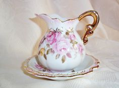 Lefton China Creamer And Saucer Hand Painted  by WalkersWimseys, $38.00