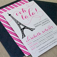 Free printable Paris-themed bridal shower invitation, menu card and thank you card with a customizable text option.