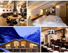Zermatt Lodge in Switzerland is the perfect place to stay for a ski trip. You are greeted with champagne reception, stocked bar and a personal chef for your stay-you'll never have to leave! #QBlog #Vacation #SkiTrip